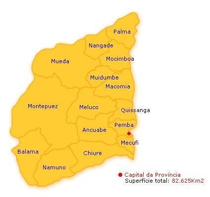 Mapa da provícia de Cabo delgado