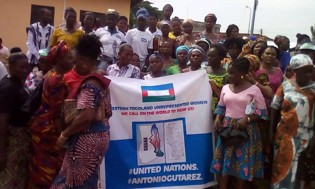 Homeland Study Group Foundation members campaigning for autonomous Western Togoland stage protest in Ho, capital of Ghana's Volta Region