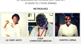Visuel Afro Cooking. Le Chef Anto, Chef Christian Abegan et Cheffe Lorna.