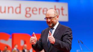Martin Schulz, leader du SPD, lors du congrès du parti le 7 décembre à Berlin.