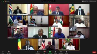 Copie d'écran des participants à la visio-conférence de la Cédéao sur le Mali, jeudi 20 septembre.