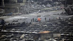 Một góc quang cảnh sau vụ nổ ở Thiên Tân, Trung Quốc, ngày 12/08/2015