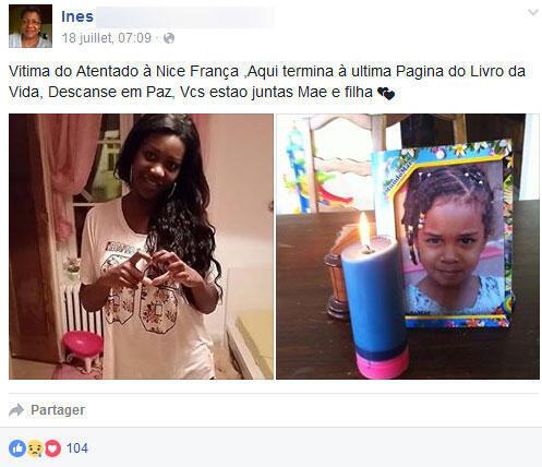 Mãe de vítima de atentado se despediu da filha e da neta em post no Facebook.