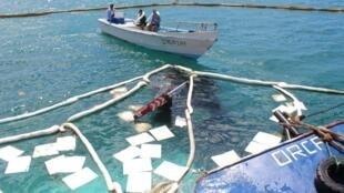 Les gardes du parc ont jeté dans l'eau souillée des chiffons absorbants afin de circonscrire la nappe de carburant dans la baie de Puerto Baquerizo Moreno, capitale administrative de l'archipel des Galapagos.