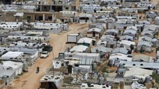 Vue d'un camp de réfugiés syriens dans l'est du Liban près de la ville d'Arsal (image d'illustration).