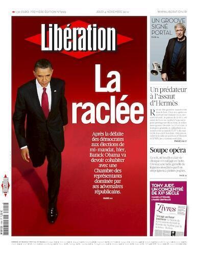 Capa do jornal francês, Liberation traz manchete sobre a derrota do partido Democrata norte-americano de Barack Obama.