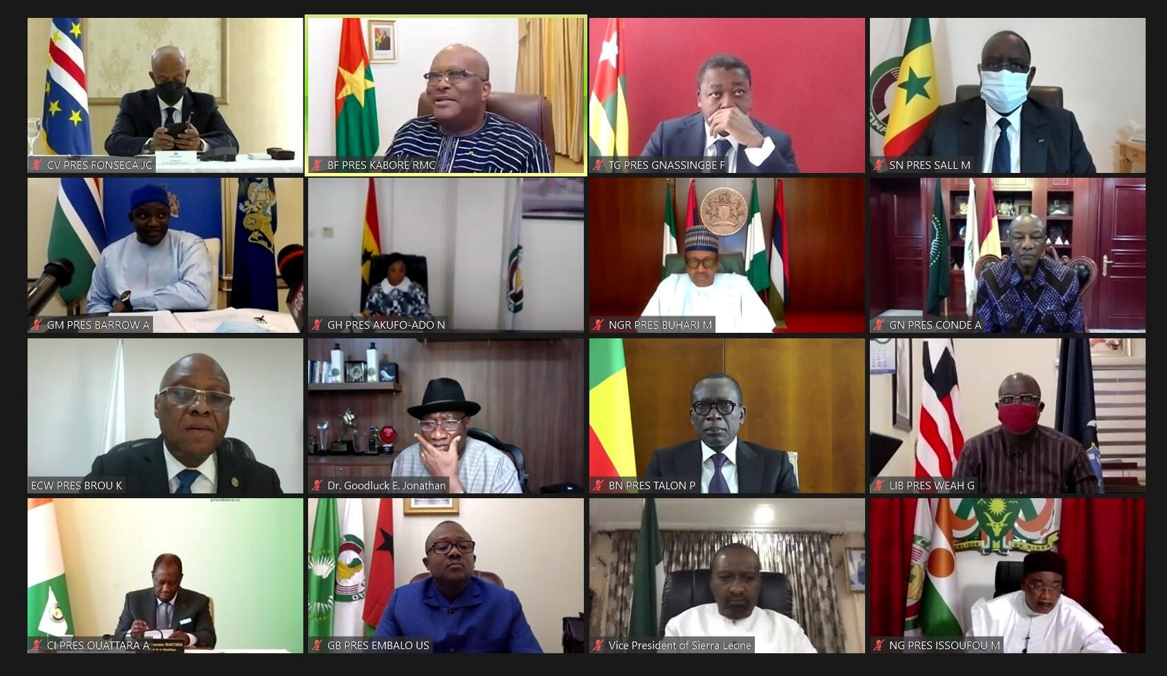 A screenshot showing a virtual summit of the heads of the Economic Community of West African States (ECOWAS) discussing Mali's political crisis, 20 August, 2020.