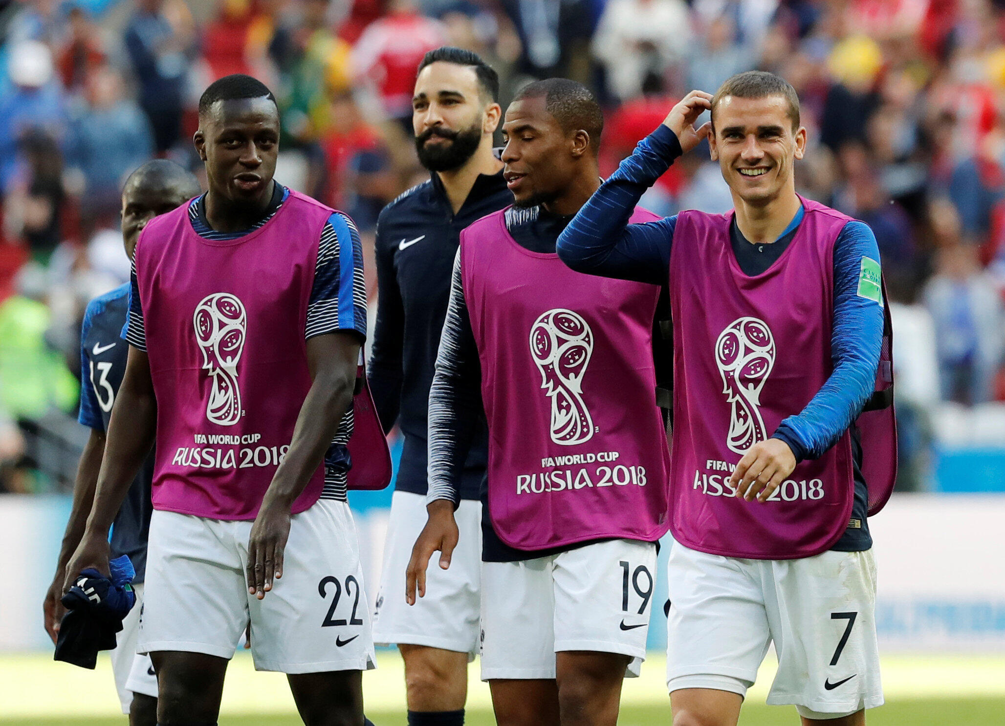 France's Benjamin Mendy, Adil Rami, Djibril Sidibe and Antoine Griezmann celebrate after the match