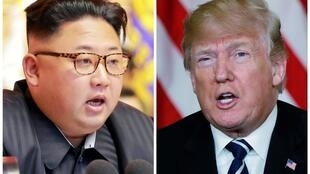 Montagem de fotos dos líderes da Coreia do Norte, Kim Jong Un, e dos EUA, Donald Trump, que devem se encontrar ainda este ano.