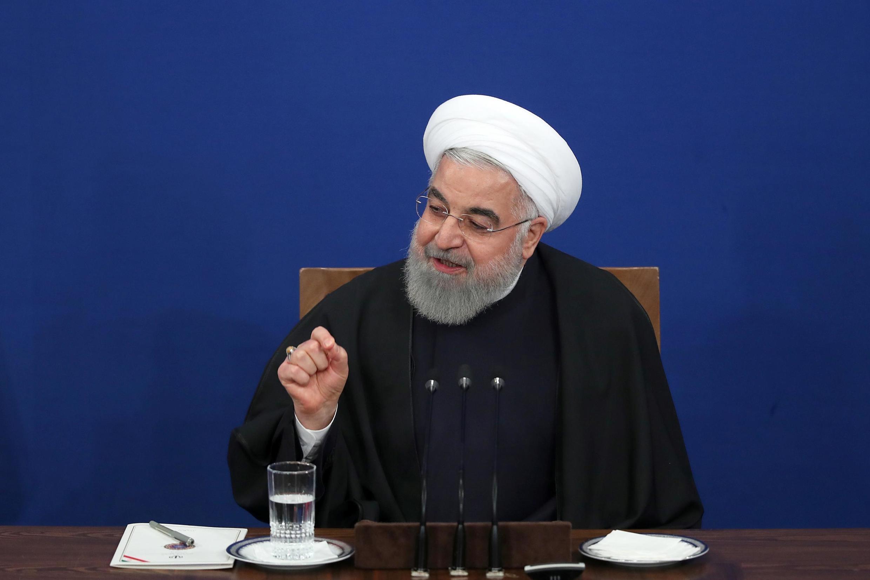 Rais wa Iran Hassan Rouhani wakati wa mkutano na waandishi wa habari huko Tehran, Februari 16, 2020.