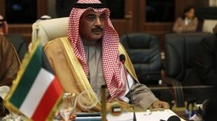 Ministro das Relações Exteriores do Kuwait, o sheique Sabah Khalid Al-Hamad Al-Sabah participa da reunião da Liga Árabe.