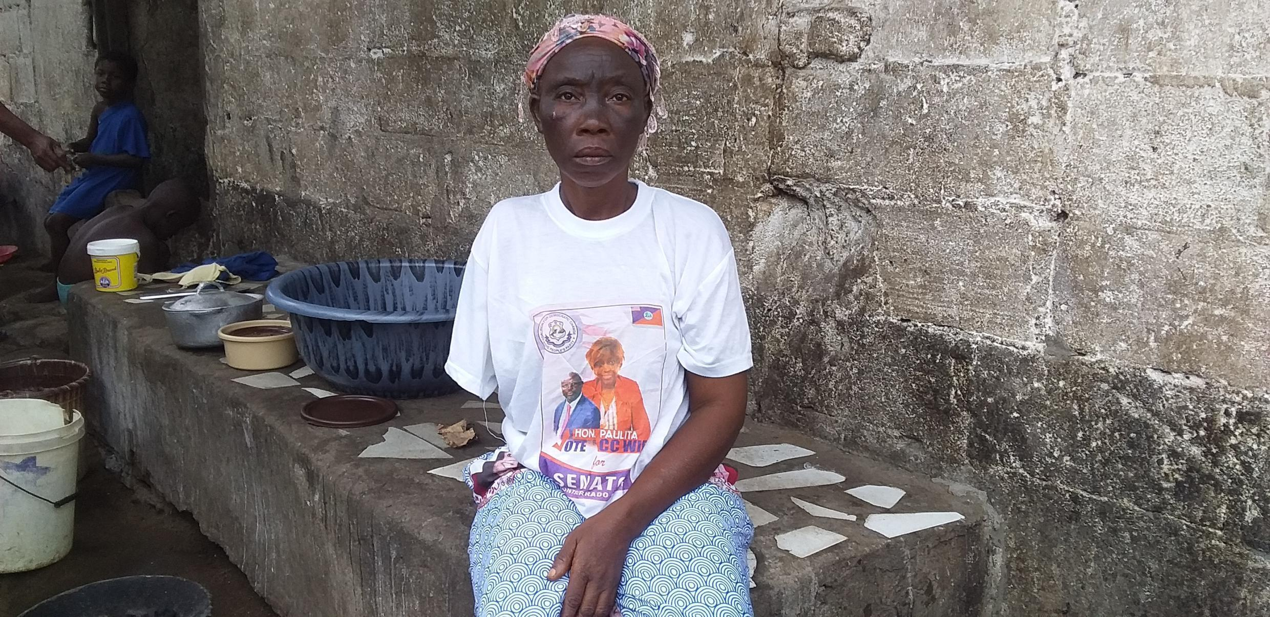 Madam Emmon Korlu, a victim of torture during Liberia's civil war and the rule of Charles Taylor