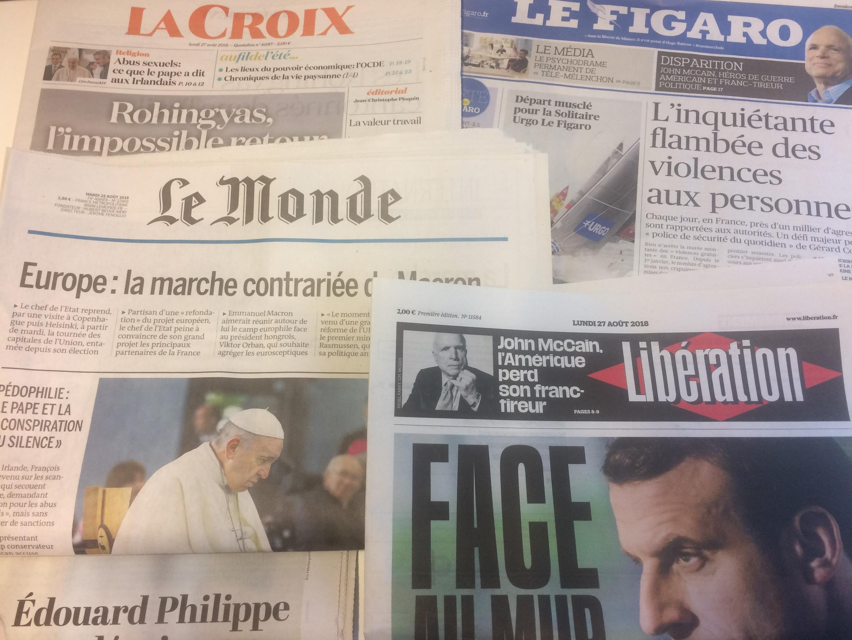 Primeiras páginas dos jornais franceses de 27 de agosto de 2018