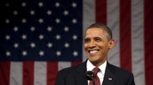 O presidente americano Barack Obama durante discurso desta quarta-feira no Congresso americano, em Washington.