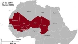 Carte du Sahel. « Certains chefs djihadistes «—acculés—» semblent avoir été poussés à remonter vers le Nord, vers le Sahara Algérien. »