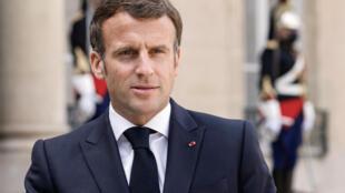 法國總統馬克龍2021年5月9日照片。