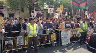 تظاهرات افغان ها در لندن علیه تغییر مسیر توتاپ