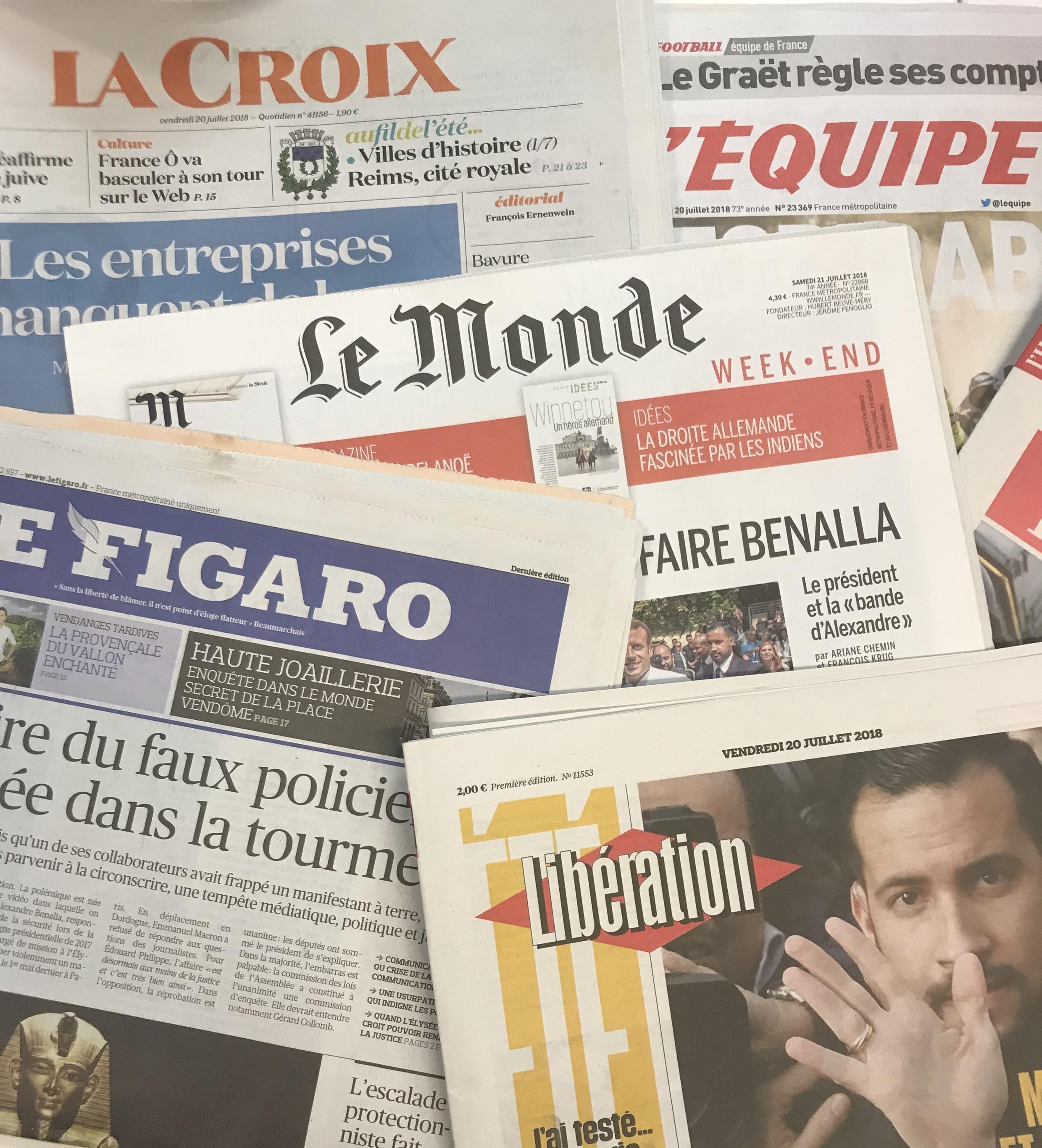 Capas dos diários franceses 20072018