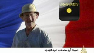Captura de pantalla del canal al-Jazira mostrando al rehén francés Michel Germaneau.