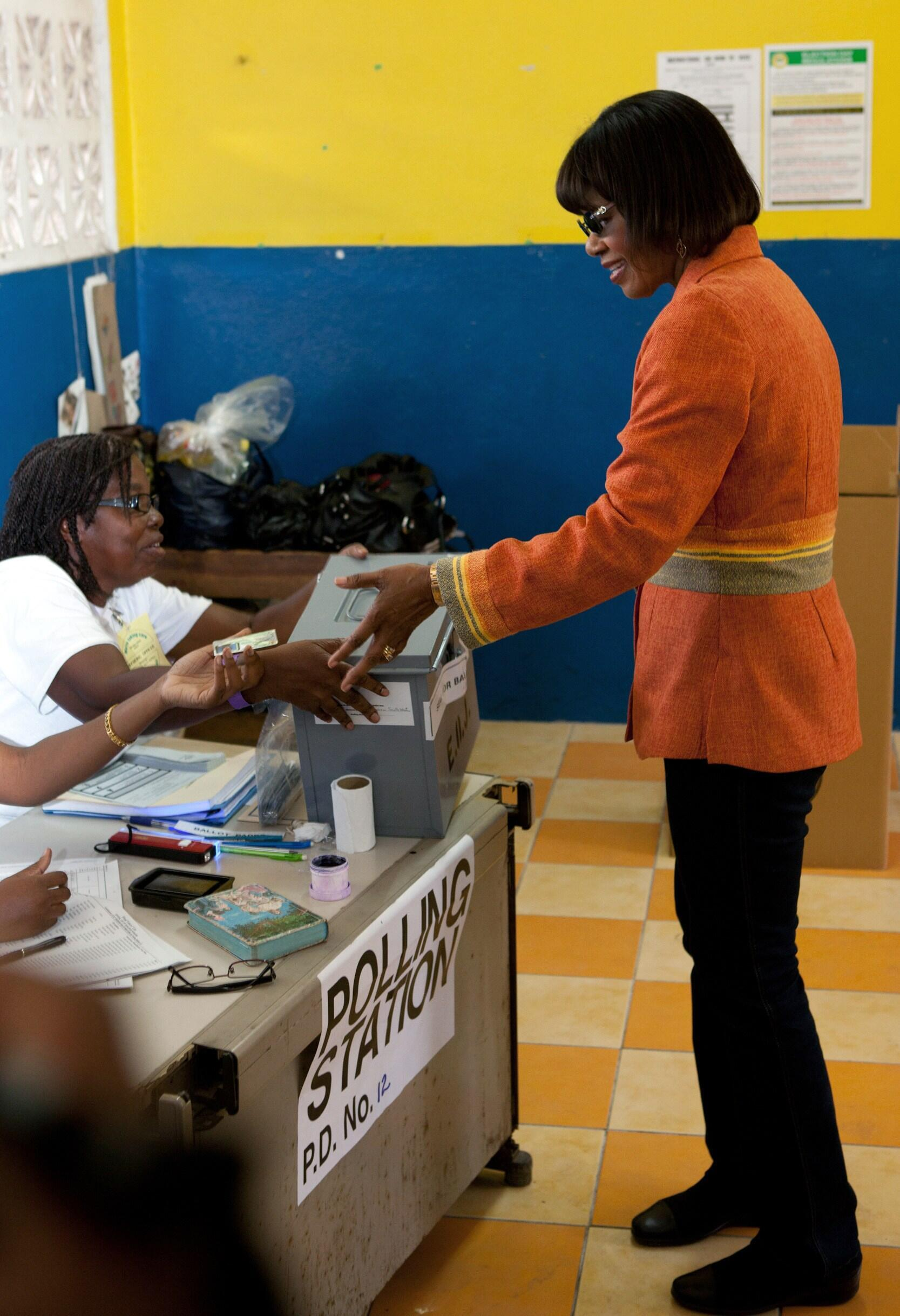 People's National Party leader Portia Simpson-Miller in a Kingston polling station
