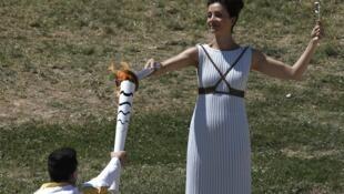 A Chama Olímpica acesa na Grécia.