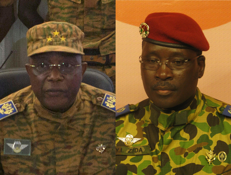 Le général Honoré Traoré (G.) et le Lieutenant colonel Isaac Zida (D.)