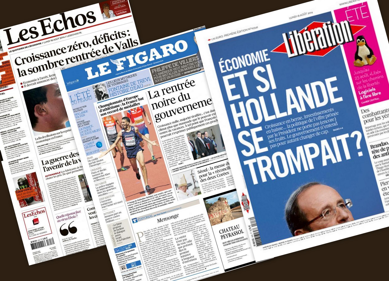 Capa dos jornais franceses Les Echos, Libération et Le Figaro desta segunda-feira, 18 de agosto de 2014.