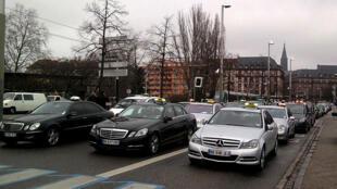 Manifestation de taxis à Strasbourg.