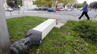Памятник Раде Кончару в Сплите после акта вандализма, 7 ноября 2018.