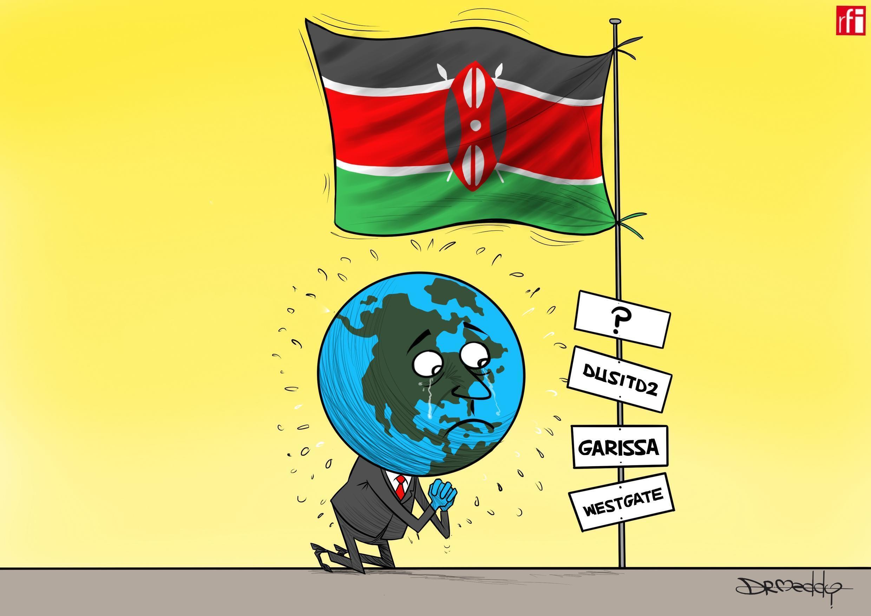 Kibonzo hiki kinaonesha maeneo ambayo magaidi wa Al Shabab walikoshambulia nchini Kenya, shambulizi la hivi karibuni likiwa ni katika hoteli ya Dusit Januari 15 2019