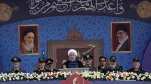 Tổng thống Iran Hassan Rohani phát biểu nhân Ngày Quân lực Iran. Ảnh tại Teheran, ngày 22/09/2019.