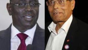 Les présidents Macky Sall du Sénégal (G) et Moncef Marzouki de la Tunisie (D).
