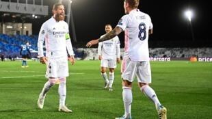 Sergio Ramos après son but face à l'Inter Milan en Ligue des champions, le 3 novembre 2020 (3-2)
