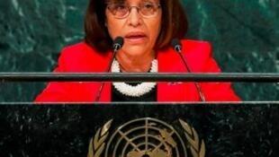 圖為馬紹爾群島總統Hilda Heine在聯合國發表講話資料照片