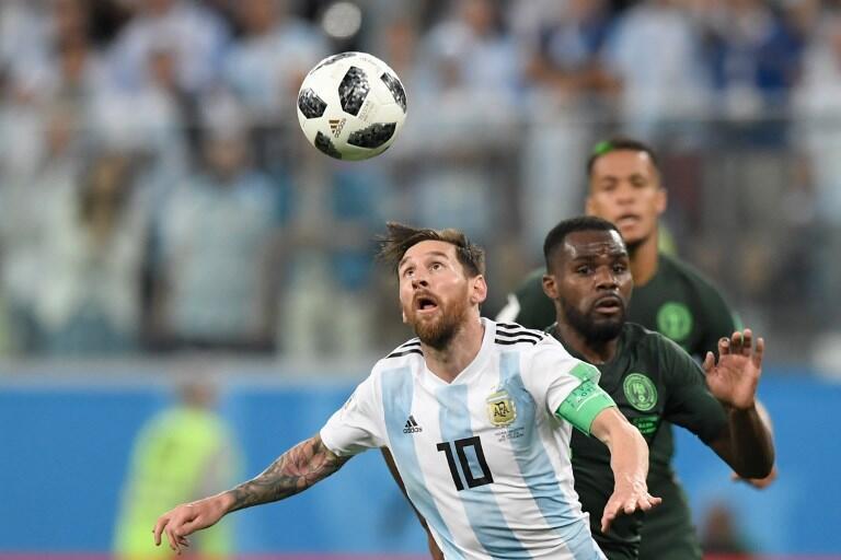 Argentina de Lionel Messi venceu a Nigéria por 2-1. 26 de Junho de 2018.