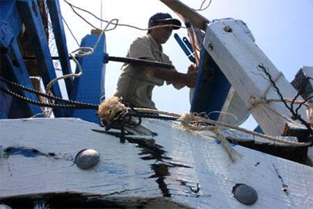 Chiếc tàu cá Việt Nam mang số hiệu QN 90917 TS bị tàu Trung Quốc, mang số 264, đâm tại vùng biển Hoàng Sa. (DR)