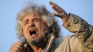 Beppe Grillo, fundador do Movimento 5 Estrelas, terceira força política do parlamento italiano.