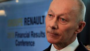 Le nouveau directeur général de Renault Thierry Bolloré a présenté ce jeudi 14 février les résultats du constructeur automobile français, à Boulogne-Billancourt.