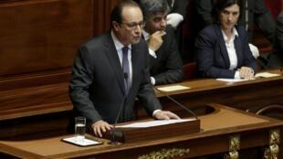 Президент Франции Франсуа Олланд на Конгрессе парламента Франции в Версале 16 ноября 2015