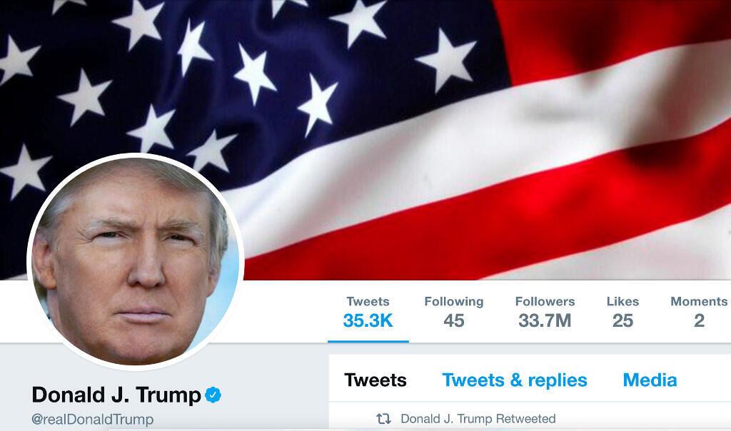 Ảnh tổng thống Mỹ Donald Trump trên tài khoản Twitter của ông.