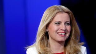 Tổng thống tân cử của Slovakia, bà Zuzana Caputova trên truyền hình sau khi đắc cử, ngày 31/03/2019 tại Bratislava.