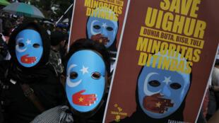 Biểu tình tại Bandung, Indonesia ngày 21/12/2018 phản đối chính quyền Trung Quốc đàn áp người Duy Ngô Nhĩ.
