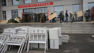 A makeshift hospital in Suifenhe, in the Chinese province of Heilongjiang on the border with Russia. 10 April, 2020
