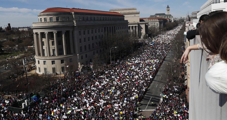 Sinh viên và giới trẻ Mỹ tuần hành đòi chính quyền tăng cường kiểm soát vũ khí, Washington DC, 24/03/2018