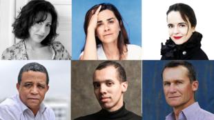 از راست به چپ: ردیف بالا: املی نوتوم، نگار جوادی، یاسمینا رضا - ردیف پائین: آندره مکین، کائل فای،  یاسمینا خضرا