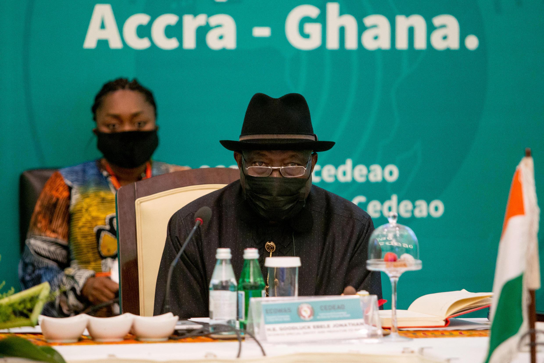 L'ancien président libérien Goodluck Jonhatan, et médiateur pour le Mali, lors du sommet de la Cédéao à Accra, le 30 mai 2021.