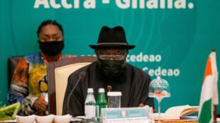 L'ancien président nigérian Goodluck Jonathan, médiateur de la Cédéao dans la crise malienne, à Accra le 30 mai 2021.
