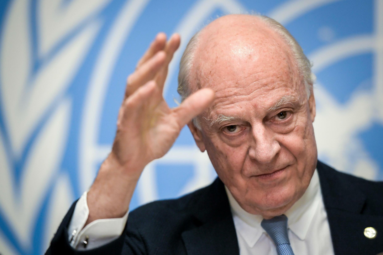 Staffan de Mistura, entonces enviado especial de la ONU para Siria, el 14 de diciembre del año 2017 en la ciudad suiza de Ginebra