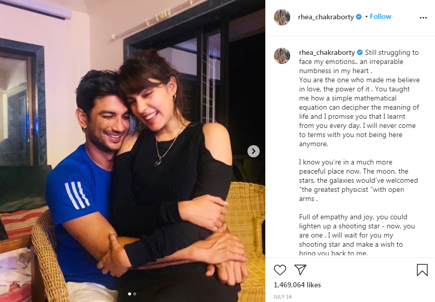 """Still struggling to face my emotions..."" said Rhea Chakraborty on Instagram."
