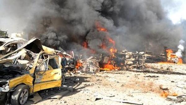 Magari yakionekana kuwaka moto mjini Damascus mara baada ya shambulio la hii leo